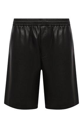 Мужские кожаные шорты PRADA черного цвета, арт. UPP224-1WDV-F0002 | Фото 1 (Мужское Кросс-КТ: Шорты-одежда; Принт: Без принта; Стили: Минимализм)