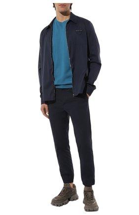 Мужские хлопковые брюки PRADA темно-синего цвета, арт. SPH149-1UP4-F0GX3-212   Фото 2 (Материал внешний: Хлопок; Случай: Повседневный; Стили: Кэжуэл)