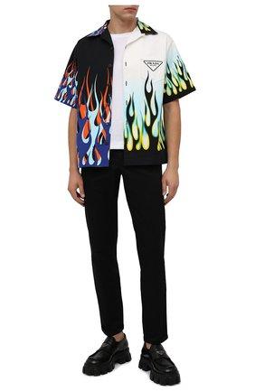 Мужская хлопковая рубашка PRADA разноцветного цвета, арт. UCS406-1Z22-F0002-212 | Фото 2 (Материал внешний: Хлопок; Случай: Повседневный; Принт: С принтом; Рукава: Короткие; Воротник: Отложной)