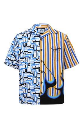 Мужская хлопковая рубашка PRADA разноцветного цвета, арт. UCS406-1Z23-F0013-212 | Фото 1 (Материал внешний: Хлопок; Случай: Повседневный; Принт: С принтом; Рукава: Короткие; Воротник: Отложной)