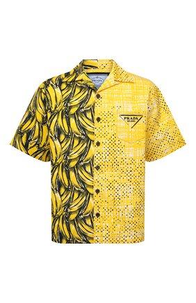 Мужская хлопковая рубашка PRADA желтого цвета, арт. UCS406-1ZVH-F0010-212 | Фото 1 (Материал внешний: Хлопок; Случай: Повседневный; Принт: С принтом; Рукава: Короткие; Воротник: Отложной)