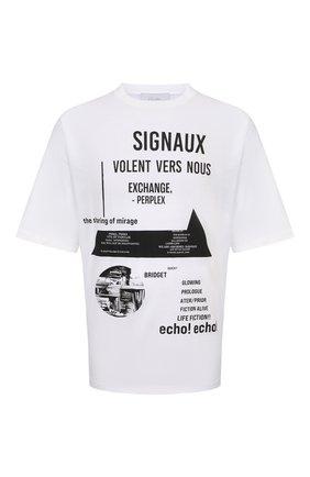 Мужская хлопковая футболка PRADA белого цвета, арт. UJN741-1YWW-F0009-211   Фото 1 (Материал внешний: Хлопок; Рукава: Короткие; Принт: С принтом; Стили: Кэжуэл)
