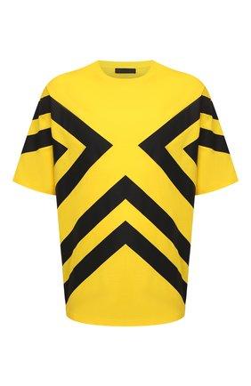 Мужская хлопковая футболка PRADA желтого цвета, арт. UJN741-1ZWB-F0AG4-211 | Фото 1 (Материал внешний: Хлопок; Рукава: Короткие; Стили: Спорт-шик; Принт: С принтом)