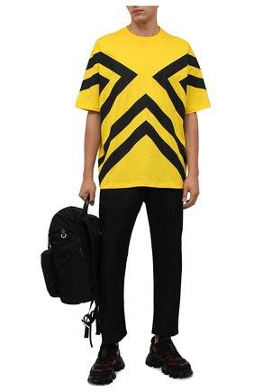 Мужская хлопковая футболка PRADA желтого цвета, арт. UJN741-1ZWB-F0AG4-211 | Фото 2 (Материал внешний: Хлопок; Рукава: Короткие; Стили: Спорт-шик; Принт: С принтом)