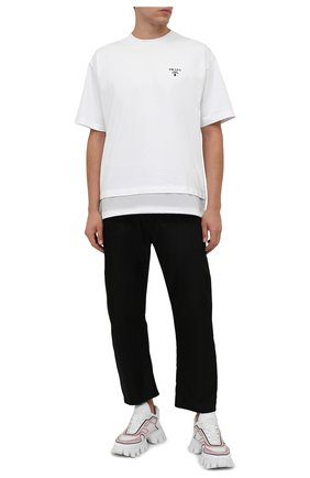 Мужская хлопковая футболка PRADA белого цвета, арт. UJN742-1YYA-F0N40-202 | Фото 2 (Материал внешний: Хлопок; Рукава: Короткие; Стили: Минимализм; Принт: Без принта)