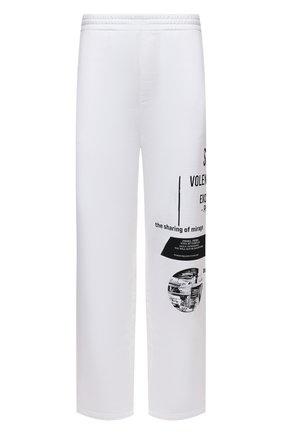 Мужские хлопковые брюки PRADA белого цвета, арт. UJP179-1YWV-F0964-211   Фото 1 (Материал внешний: Хлопок; Мужское Кросс-КТ: Брюки-трикотаж; Случай: Повседневный; Стили: Спорт-шик)