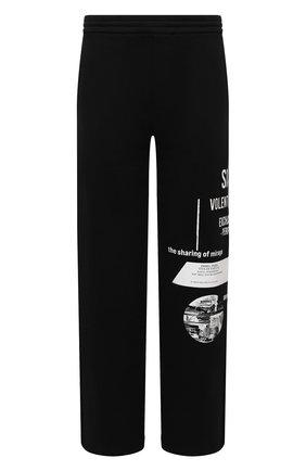 Мужские хлопковые брюки PRADA черного цвета, арт. UJP179-1YWV-F0967-211 | Фото 1 (Материал внешний: Хлопок; Мужское Кросс-КТ: Брюки-трикотаж; Случай: Повседневный; Стили: Спорт-шик)