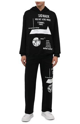 Мужские хлопковые брюки PRADA черного цвета, арт. UJP179-1YWV-F0967-211 | Фото 2 (Материал внешний: Хлопок; Мужское Кросс-КТ: Брюки-трикотаж; Случай: Повседневный; Стили: Спорт-шик)