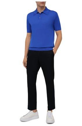 Мужское шерстяное поло PRADA синего цвета, арт. UMA290-C5W-F0016-151 | Фото 2 (Материал внешний: Шерсть; Застежка: Пуговицы; Кросс-КТ: Трикотаж; Стили: Кэжуэл; Рукава: Короткие)