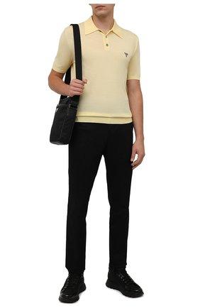 Мужское шерстяное поло PRADA желтого цвета, арт. UMB267-1ZLE-F0032-212 | Фото 2 (Материал внешний: Шерсть; Застежка: Пуговицы; Кросс-КТ: Трикотаж; Стили: Кэжуэл; Рукава: Короткие)