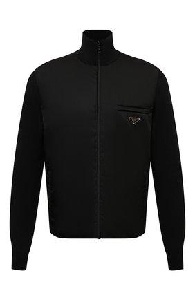 Мужской комбинированный кардиган PRADA черного цвета, арт. UMC149-1JF4-F0002-202 | Фото 1 (Материал внешний: Шерсть; Мужское Кросс-КТ: Кардиган-одежда; Стили: Минимализм)