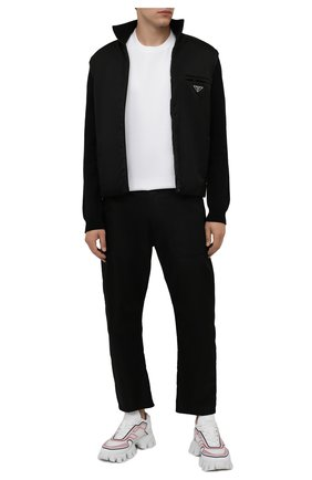 Мужской комбинированный кардиган PRADA черного цвета, арт. UMC149-1JF4-F0002-202 | Фото 2 (Материал внешний: Шерсть; Мужское Кросс-КТ: Кардиган-одежда; Стили: Минимализм)