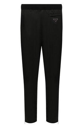 Мужские шерстяные брюки PRADA черного цвета, арт. UMP67-1JF4-F0002-202 | Фото 1 (Материал внешний: Шерсть; Случай: Повседневный; Стили: Минимализм)