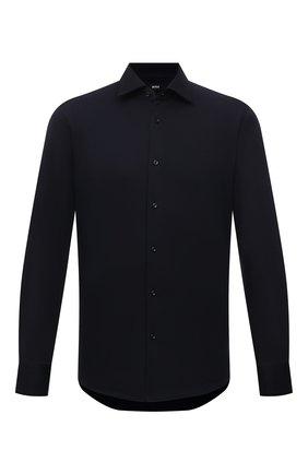 Мужская хлопковая рубашка BOSS темно-синего цвета, арт. 50463009 | Фото 1 (Длина (для топов): Стандартные; Материал внешний: Хлопок; Рукава: Длинные; Случай: Повседневный; Воротник: Кент; Манжеты: На пуговицах; Принт: Однотонные)