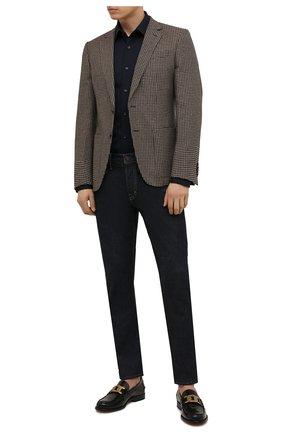 Мужская хлопковая рубашка BOSS темно-синего цвета, арт. 50463009 | Фото 2 (Длина (для топов): Стандартные; Материал внешний: Хлопок; Рукава: Длинные; Случай: Повседневный; Воротник: Кент; Манжеты: На пуговицах; Принт: Однотонные)