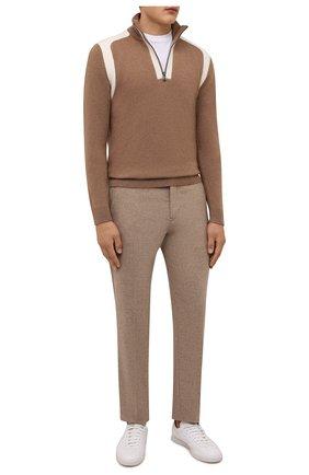 Мужские брюки BOGNER бежевого цвета, арт. 18043337   Фото 2 (Материал внешний: Шерсть, Синтетический материал; Длина (брюки, джинсы): Стандартные; Случай: Повседневный; Стили: Кэжуэл)