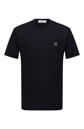 Мужская хлопковая футболка STONE ISLAND темно-синего цвета, арт. 751524113 | Фото 1 (Материал внешний: Хлопок; Рукава: Короткие; Принт: Без принта; Стили: Кэжуэл; Длина (для топов): Стандартные)