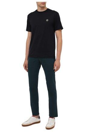 Мужская хлопковая футболка STONE ISLAND темно-синего цвета, арт. 751524113 | Фото 2 (Материал внешний: Хлопок; Рукава: Короткие; Принт: Без принта; Стили: Кэжуэл; Длина (для топов): Стандартные)