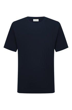 Мужская хлопковая футболка DRIES VAN NOTEN темно-синего цвета, арт. 212-021194-3600 | Фото 1 (Материал внешний: Хлопок; Рукава: Короткие; Принт: Без принта; Стили: Кэжуэл; Длина (для топов): Стандартные)