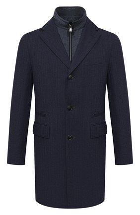 Мужской шерстяное пальто CORNELIANI темно-синего цвета, арт. 881590-1812402/00 | Фото 1 (Мужское Кросс-КТ: пальто-верхняя одежда; Длина (верхняя одежда): До середины бедра; Рукава: Длинные; Материал внешний: Шерсть; Стили: Классический)