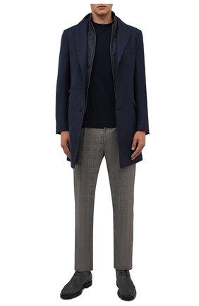 Мужской шерстяное пальто CORNELIANI темно-синего цвета, арт. 881590-1812402/00 | Фото 2 (Мужское Кросс-КТ: пальто-верхняя одежда; Длина (верхняя одежда): До середины бедра; Рукава: Длинные; Материал внешний: Шерсть; Стили: Классический)