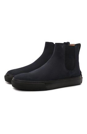 Мужские замшевые челси TOD'S темно-синего цвета, арт. XXM03E00P20RE0 | Фото 1 (Материал внутренний: Натуральная кожа; Материал внешний: Текстиль, Замша; Мужское Кросс-КТ: Сапоги-обувь, Челси-обувь; Подошва: Массивная)