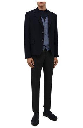 Мужские замшевые челси TOD'S темно-синего цвета, арт. XXM03E00P20RE0 | Фото 2 (Материал внутренний: Натуральная кожа; Материал внешний: Текстиль, Замша; Мужское Кросс-КТ: Сапоги-обувь, Челси-обувь; Подошва: Массивная)