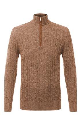 Мужской кашемировый свитер LORO PIANA коричневого цвета, арт. FAD7358 | Фото 1 (Материал внешний: Кашемир, Шерсть; Мужское Кросс-КТ: Свитер-одежда; Рукава: Длинные; Принт: Без принта; Стили: Кэжуэл; Длина (для топов): Стандартные)