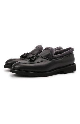 Мужские кожаные лоферы DOUCAL'S черного цвета, арт. DU2753VER0UM065NN00 | Фото 1 (Материал утеплителя: Натуральный мех; Стили: Кэжуэл)