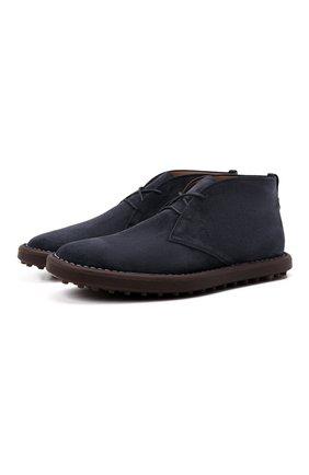 Мужские замшевые ботинки TOD'S темно-синего цвета, арт. XXM06G0ES50RE0 | Фото 1 (Материал внутренний: Натуральная кожа; Материал внешний: Замша; Мужское Кросс-КТ: Ботинки-обувь; Подошва: Плоская)