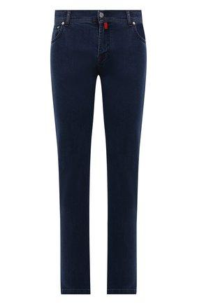 Мужские джинсы KITON синего цвета, арт. UPNJSJ0341A   Фото 1 (Материал внешний: Хлопок; Кросс-КТ: Деним; Силуэт М (брюки): Прямые; Стили: Кэжуэл; Длина (брюки, джинсы): Стандартные)