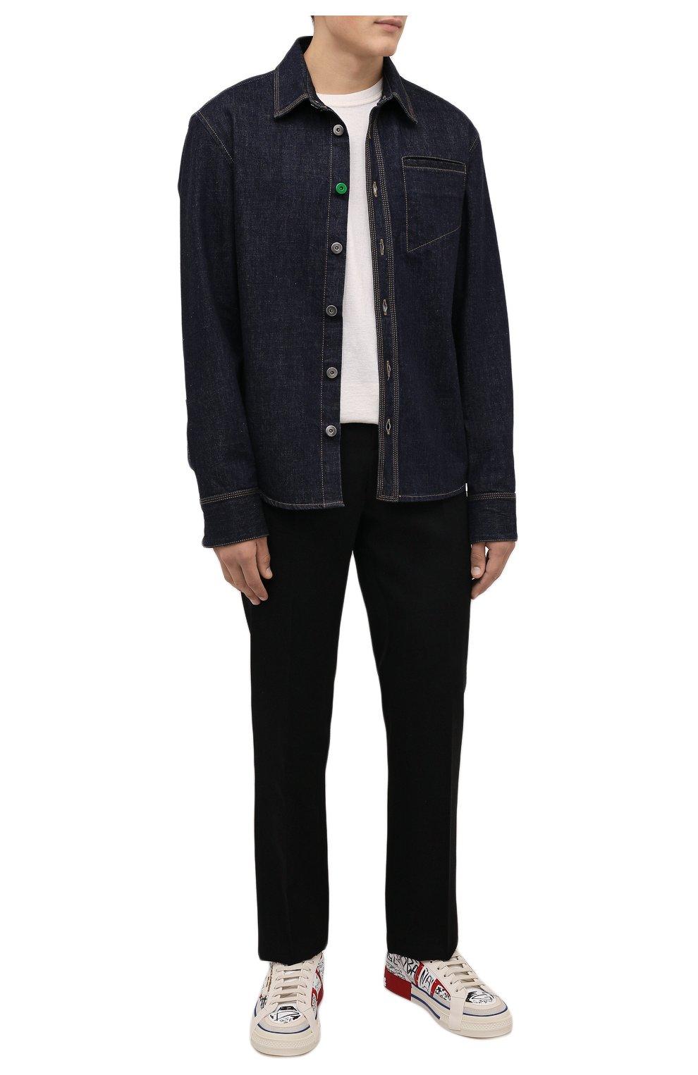 Мужские кожаные кеды custom 2.zero DOLCE & GABBANA белого цвета, арт. CS1863/A0806   Фото 2 (Материал внутренний: Натуральная кожа; Подошва: Массивная)