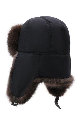 Мужская шапка-ушанка с меховой отделкой ANDREA CAMPAGNA темно-синего цвета, арт. CH001H9QNA150   Фото 2 (Материал: Синтетический материал, Текстиль)