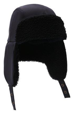 Мужская шапка-ушанка с меховой отделкой INVERNI темно-синего цвета, арт. 5379 CT | Фото 1 (Материал: Синтетический материал, Текстиль, Хлопок)