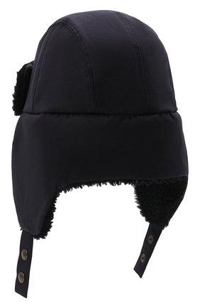 Мужская шапка-ушанка с меховой отделкой INVERNI темно-синего цвета, арт. 5379 CT | Фото 2 (Материал: Синтетический материал, Текстиль, Хлопок)