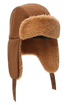 Мужская шапка-ушанка с меховой отделкой INVERNI коричневого цвета, арт. 5379 CT | Фото 1 (Материал: Синтетический материал, Хлопок, Текстиль)