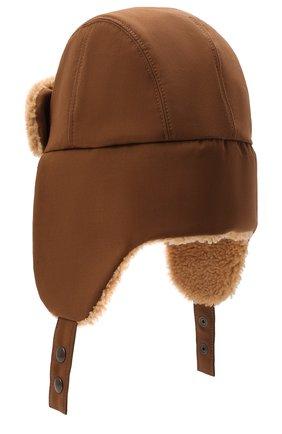 Мужская шапка-ушанка с меховой отделкой INVERNI коричневого цвета, арт. 5379 CT | Фото 2 (Материал: Синтетический материал, Хлопок, Текстиль)