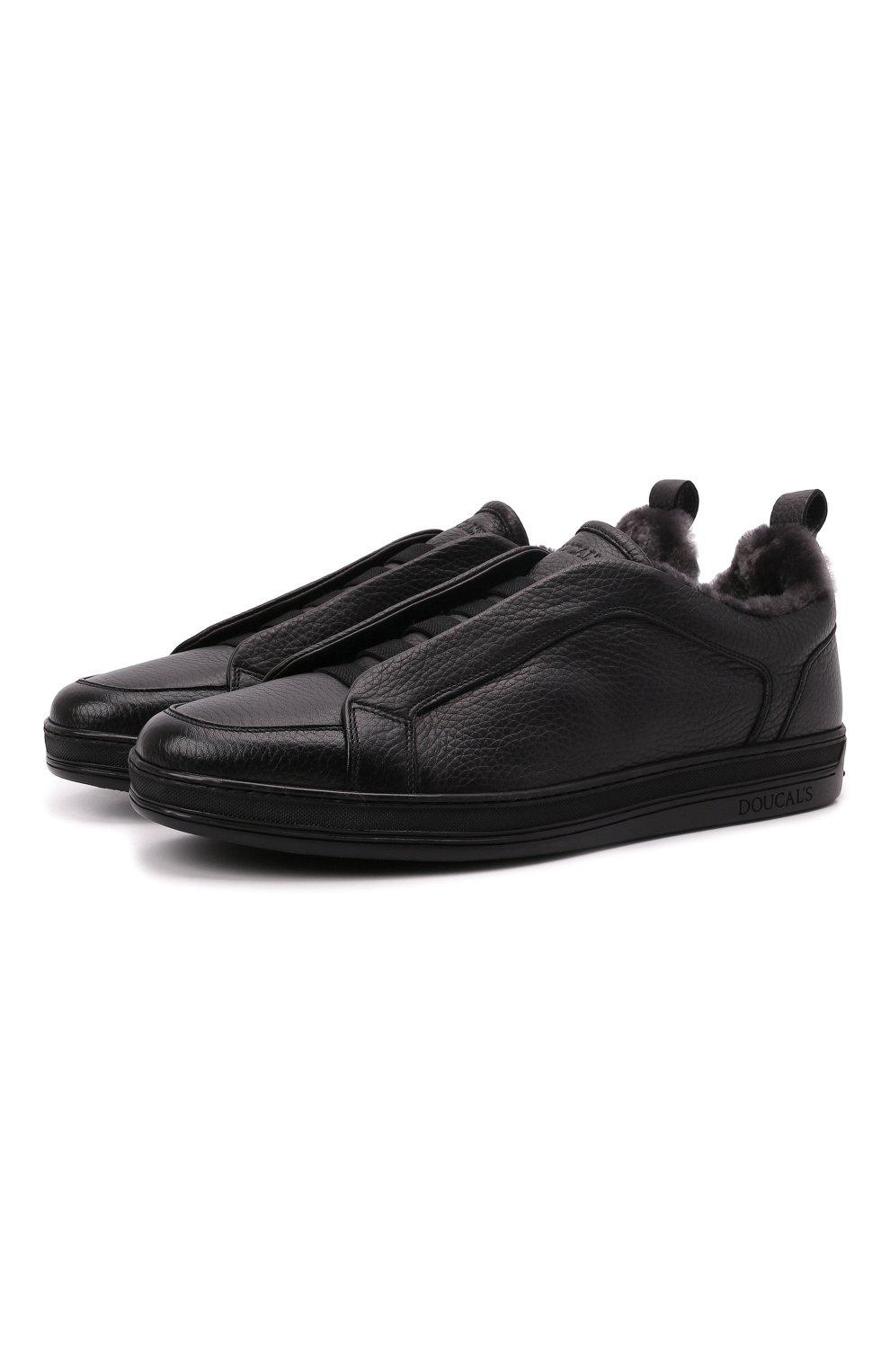 Мужские кожаные кеды DOUCAL'S черного цвета, арт. DU2511GENTUM019NN00   Фото 1 (Материал утеплителя: Натуральный мех; Подошва: Массивная)