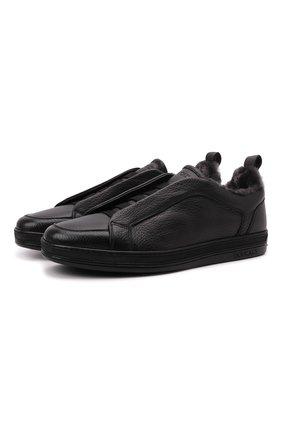 Мужские кожаные кеды DOUCAL'S черного цвета, арт. DU2511GENTUM019NN00 | Фото 1 (Материал утеплителя: Натуральный мех; Подошва: Массивная)
