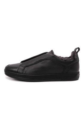 Мужские кожаные кеды DOUCAL'S черного цвета, арт. DU2511GENTUM019NN00   Фото 3 (Материал утеплителя: Натуральный мех; Подошва: Массивная)