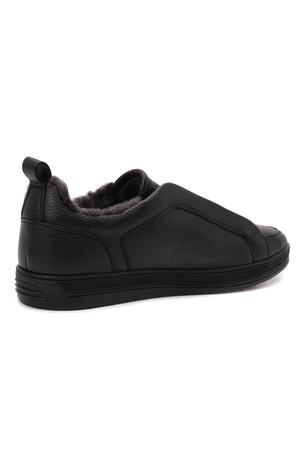 Мужские кожаные кеды DOUCAL'S черного цвета, арт. DU2511GENTUM019NN00   Фото 4 (Материал утеплителя: Натуральный мех; Подошва: Массивная)