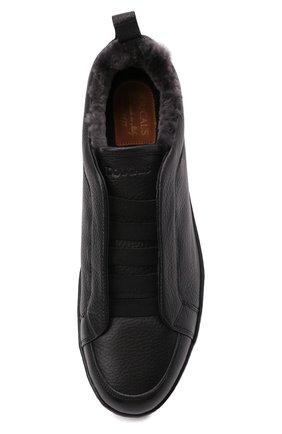 Мужские кожаные кеды DOUCAL'S черного цвета, арт. DU2511GENTUM019NN00   Фото 5 (Материал утеплителя: Натуральный мех; Подошва: Массивная)