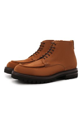 Мужские замшевые ботинки W.GIBBS коричневого цвета, арт. 0212006/2508 | Фото 1 (Материал внутренний: Натуральная кожа; Подошва: Плоская; Материал внешний: Замша; Мужское Кросс-КТ: Ботинки-обувь)