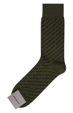 Мужские хлопковые носки BALENCIAGA хаки цвета, арт. 617766/4A0B0 | Фото 1 (Материал внешний: Хлопок; Кросс-КТ: бельё)