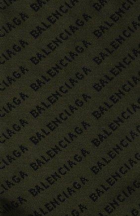 Мужские хлопковые носки BALENCIAGA хаки цвета, арт. 617766/4A0B0 | Фото 2 (Материал внешний: Хлопок; Кросс-КТ: бельё)