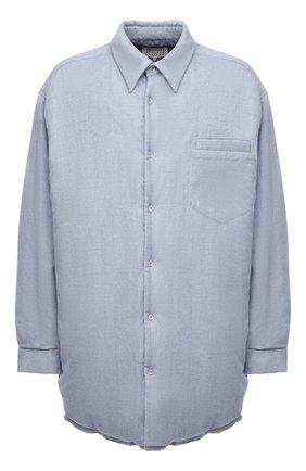 Мужская утепленная куртка MAISON MARGIELA голубого цвета, арт. S51DL0378/S54192   Фото 1 (Длина (верхняя одежда): До середины бедра; Материал подклада: Вискоза; Материал внешний: Хлопок; Рукава: Длинные; Кросс-КТ: Куртка; Мужское Кросс-КТ: утепленные куртки; Стили: Минимализм)