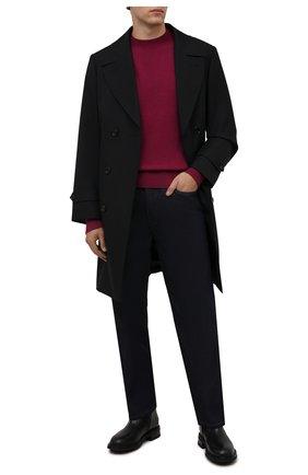 Мужской шерстяной свитер ACNE STUDIOS бордового цвета, арт. C60035/M | Фото 2 (Материал внешний: Шерсть; Мужское Кросс-КТ: Свитер-одежда; Рукава: Длинные; Принт: Без принта; Стили: Кэжуэл; Длина (для топов): Стандартные)