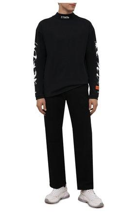 Мужской хлопковая водолазка HERON PRESTON черного цвета, арт. HMAB017F21JER0011001 | Фото 2 (Рукава: Длинные; Длина (для топов): Стандартные; Материал внешний: Хлопок; Мужское Кросс-КТ: Водолазка-одежда; Принт: С принтом; Стили: Гранж)