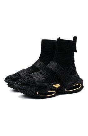 Мужские текстильные кроссовки b-bold BALMAIN черного цвета, арт. WM1VH229/TKMD   Фото 1 (Подошва: Массивная; Материал внутренний: Натуральная кожа; Материал внешний: Текстиль; Стили: Гранж)