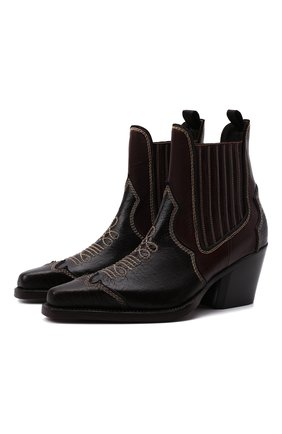 Мужские кожаные казаки cillian DSQUARED2 темно-коричневого цвета, арт. ABM0067 01503444 | Фото 1 (Каблук высота: Высокий; Материал внутренний: Натуральная кожа; Подошва: Плоская; Мужское Кросс-КТ: Сапоги-обувь, Казаки-обувь)